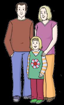 Vater steht neben der Mutter und in der Mitte ihr Kind