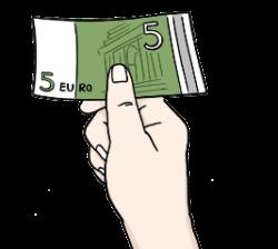 Hand hält einen Geldschein