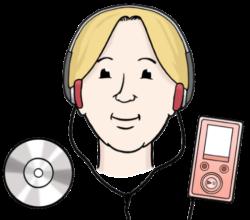 Kopf von Frau mit Kopfhören mit CD links und Musik-Abspielgerät rechts