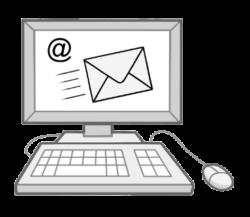 Computer mit Symbolen Brief und E-Mail auf dem Monitor