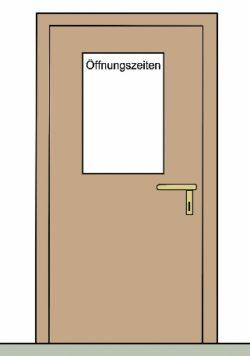 Tür mit Aufschrift Öffnungszeiten