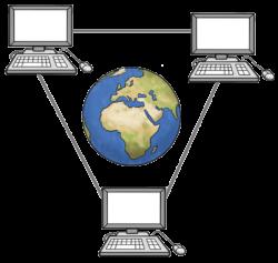 drei verbundene Computer mit der Erdkugel in ihrer Mitte