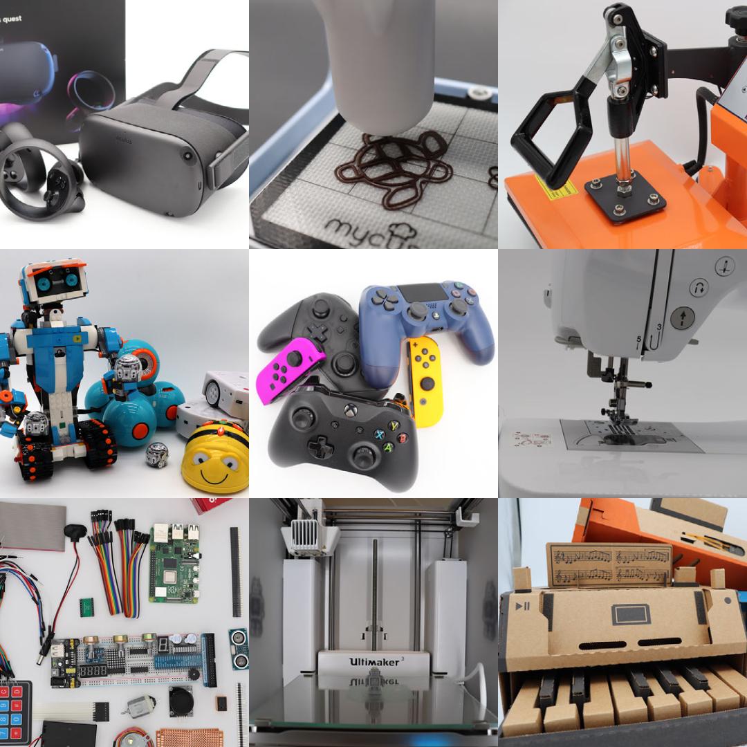 Eine Collage mit den Geräten des Makerspaces: Roboter, Virtual Reality Brille, Gaming-Controller, Nintendo-Labo, Nähmaschine, Schokodrucker, 3D-Drucker, Elektronik-Kleinteile