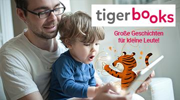 Ein Mann hält ein Tablet in der Hand und hat ein kleines Kind auf dem Schoß. Aus dem Tablet kommt ein Comic Tiger hervor. Das Kind ist fröhlich erstaunt.